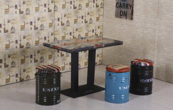 【尚品傢俱】JF-428-1 英國4尺長方仿舊餐桌(附玻璃)