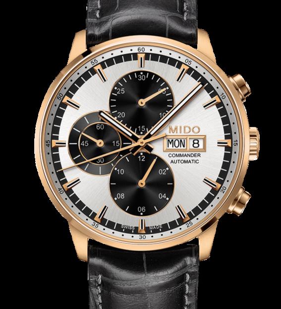 MIDO 美度  Commander 指揮官系列機械腕錶  M0164143603159 銀 玫塊金 黑 42mm 0