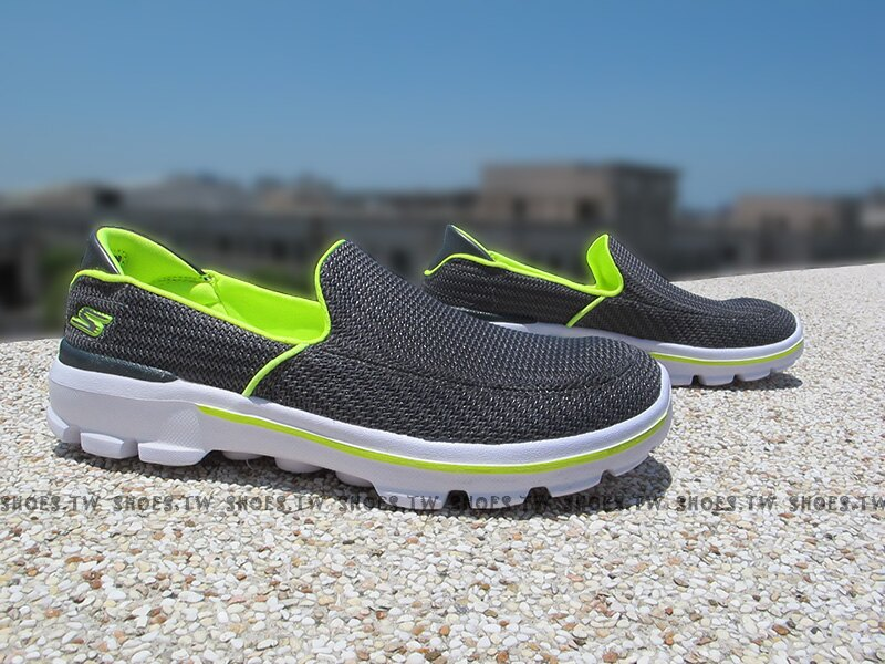 Shoestw【95692LCCYL】SKECHERS 中童鞋 GOWALK3 灰綠 小學生可穿