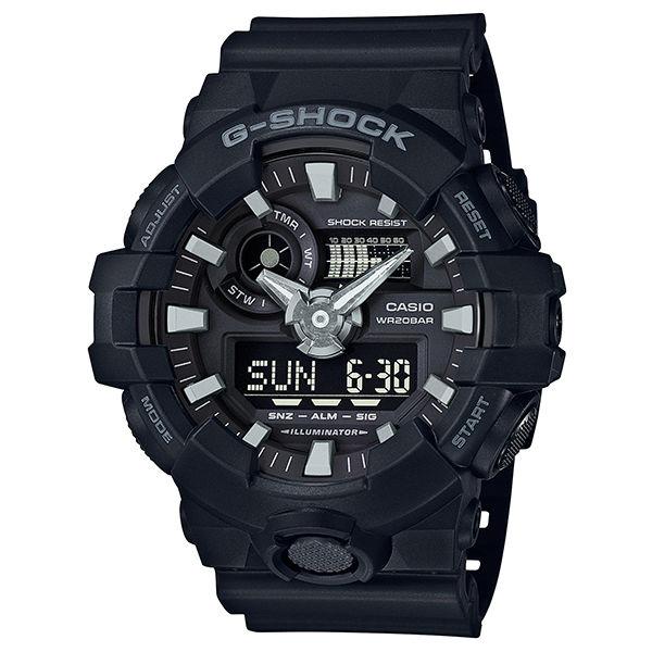 CASIO G-SHOCK GA-700-1B仿金屬質感雙顯腕錶/53.4mm
