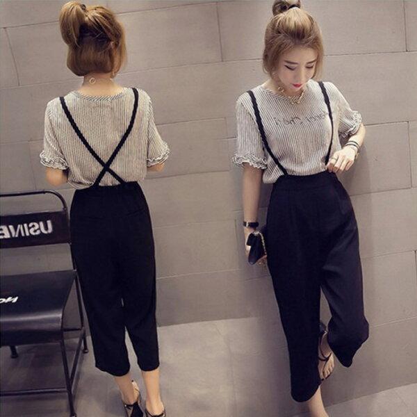 糖衣子輕鬆購【GH5632】韓版時尚休閒短袖雪紡+9分闊腿褲背帶褲兩件套