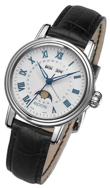epos 愛寶時 4391.832.20.20.15FB 月相多功能機械腕錶/白面34mm