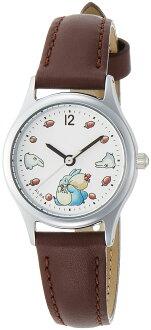 【真愛日本】16081500032皮帶咖圓型銀錶-龍貓栗子 龍貓 TOTORO 豆豆龍 仿皮手錶 時尚錶 圓錶