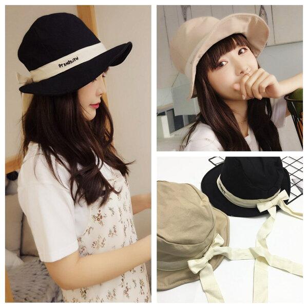韓版氣質蝴蝶結綁帶字母刺繡遮陽漁夫帽