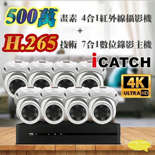 高雄台南屏東監視器可取套餐H.2658路主機監視器主機+500萬400萬畫素半球型紅外線攝影機*8