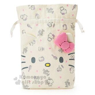 〔小禮堂〕Hello Kitty 束口袋《大.米白.大臉.化妝品滿版.立體耳朵》可裝吹風機