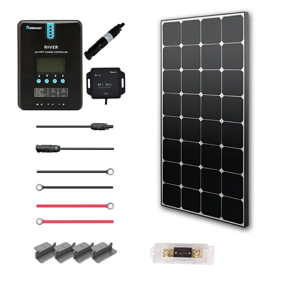 Renogy 100 Watt 12 Volt Off Grid Solar Premium Kit with Eclipse Solar Panel and 20A MPPT Rover Controller 0