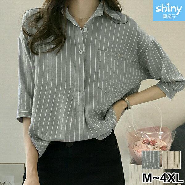 【V2525】shiny藍格子-文青女孩.條紋口袋寬鬆七分袖襯衫上衣 0