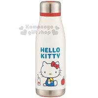 〔小禮堂〕 Hello Kitty 不鏽鋼保溫瓶《白.坐姿.牛奶.蘋果.400ml》70年代系列-小禮堂-樂天旗艦店-居家生活推薦