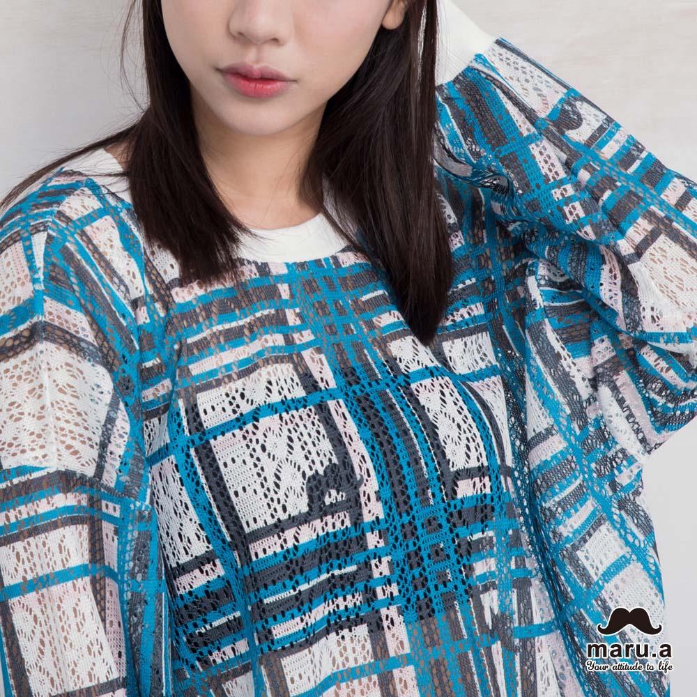 【maru.a】亮眼格紋配色微透視上衣(藍綠)7923112 1
