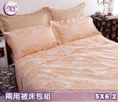 【名流寢飾家居館】鸞鳳和鳴.100%精梳棉緹花.標準雙人床包組兩用鋪棉被套全套.全程臺灣製造
