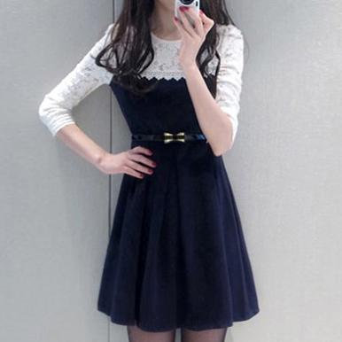 假兩件蕾絲長袖洋裝 (附腰帶)
