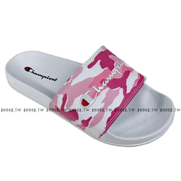 Shoestw【913250260】CHAMPION 拖鞋 運動拖鞋 粉白迷彩 女生尺寸 0