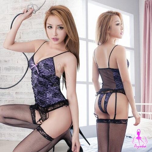 亞娜絲情趣用品吊襪帶浪漫紫蕾絲馬甲+丁字褲+吊襪帶+網襪