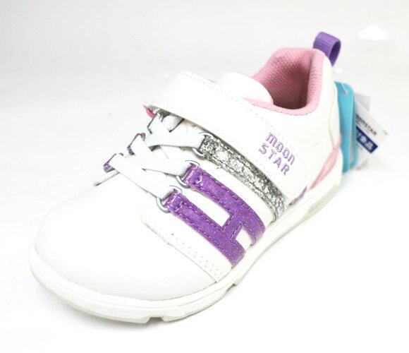 陽光運動館:Moonstar日本品牌機能運動鞋魔鬼氈舒適兒童皮鞋扁平足姆指外翻MSC21559(白皮紫粉邊)[陽光樂活]
