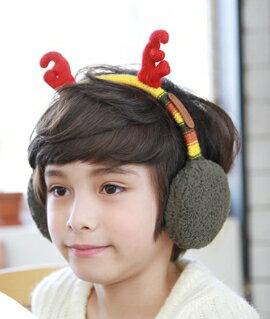Kocotree◆秋冬可愛聖誕麋鹿角造型兒童保暖耳罩-黃色