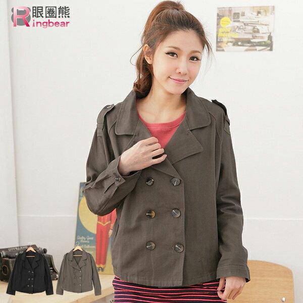 外套--完美的率性前衛傘狀雙排釦罩衫短版外套(黑.灰M-XL)-J164眼圈熊中大