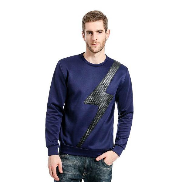FINDSENSEZ1韓國時尚潮男格子皮布閃電圖案休閒外套衛衣長袖T恤