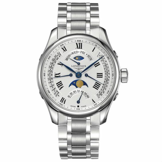 LONGINES 浪琴表 L27394716 巨擘月象四回撥多功能腕錶/白網紋面44mm