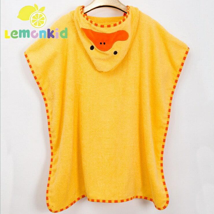 Lemonkid◆可愛卡通造型純棉柔軟吸水寬大蓋毯兒童嬰兒浴巾帶帽毛巾被浴袍70*140cm-黃色小鴨
