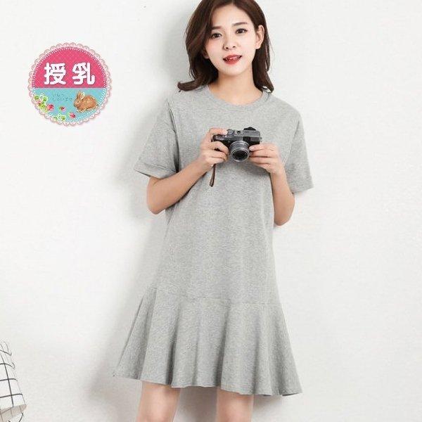 *漂亮小媽咪*超舒適100%純棉超彈短袖哺乳裙學院風荷葉裙魚尾洋裝B5750QQ