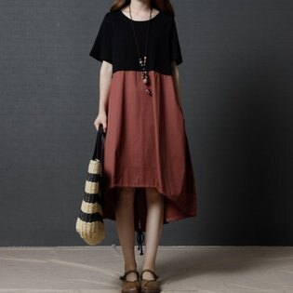*漂亮小媽咪*韓國撞色前短後長抽繩裙襬超好穿輕薄寬鬆加大孕婦裝長裙D6358