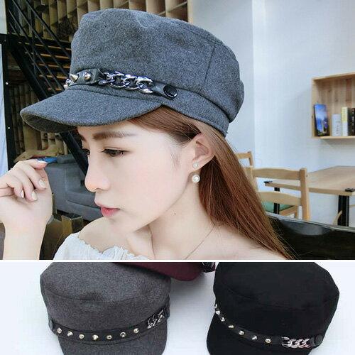 貝蕾帽 鉚釘 平頂 海軍帽 遮陽帽 鴨舌帽【QI8533】 BOBI  01/05