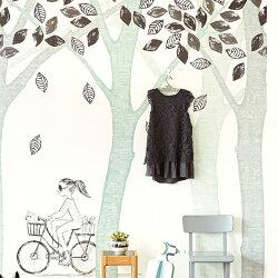 F11G-364133 BIKE,LEAF,TREE 荷蘭期貨影像大圖壁紙 樹枝森林童話 腳踏車 可愛兒童嬰兒男孩女孩房