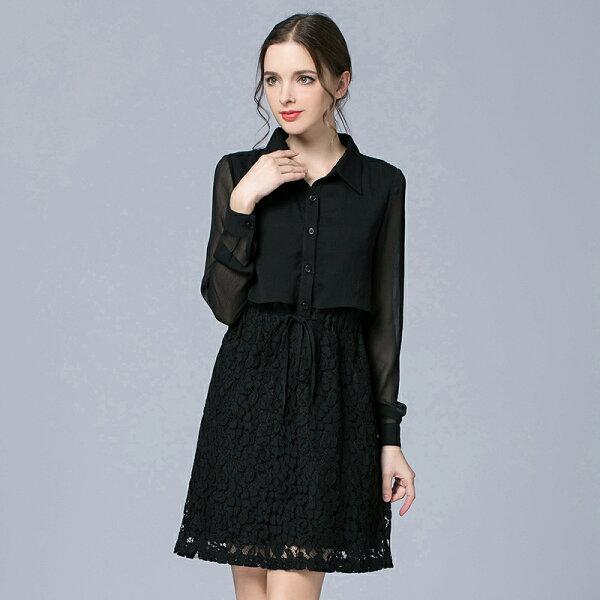 灰姑娘[7003-E]中大尺碼*襯衫領蕾絲花朵雪紡連衣裙洋裝~零碼出清不退