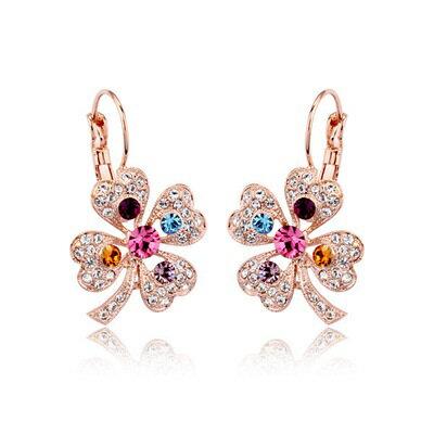 ~玫瑰金耳環925純銀鑲鑽耳飾~絢麗繽紛幸運草情人節 女飾品73gs174~ ~~米蘭 ~