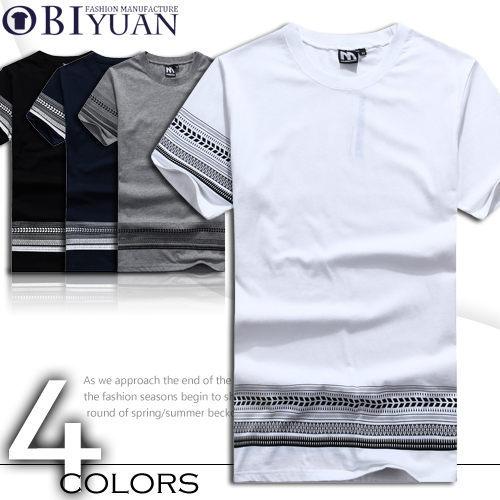 短袖棉T【F30002】OBIYUAN韓版民族風骷顱頭圖騰設計款彈性短袖上衣共4色