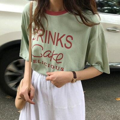 韓系女裝圓領字母印花上衣撞色短袖T恤樂天時尚館。預購