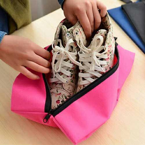 PS Mall╭*韓版旅行防水牛津布運動鞋袋 可折疊便攜式鞋子收?袋 多功能收納旅行包 【J1044】