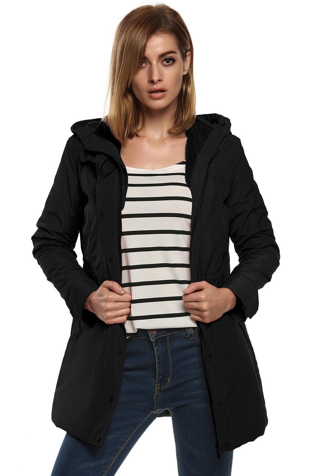 Women Casual Hooded Waterproof Windproof Long Coat Outwear 0