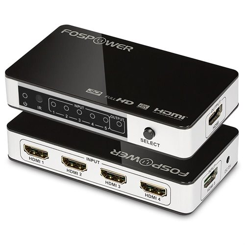 FosPower 5X1 HDMI Selector Switch (Supports 3D and 4Kx2K@30Hz /  1080p@120Hz) - (Black/Silver)