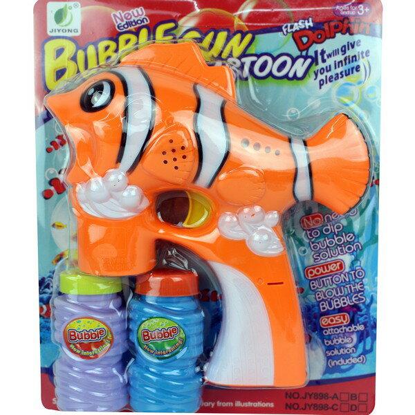 中小丑魚泡泡槍音樂聲光電動泡泡槍+泡泡水(附電池)一件50支入{促150}吹泡泡機~CF102860