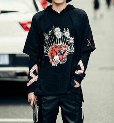 FINDSENSE Z1 韓國 時尚 潮 男 寬鬆 虎頭刺繡 長袖 連帽外套 衛衣 上衣