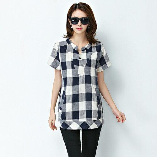 韓版亞麻短袖格子襯衫(2色M~5XL)*ORead* 0