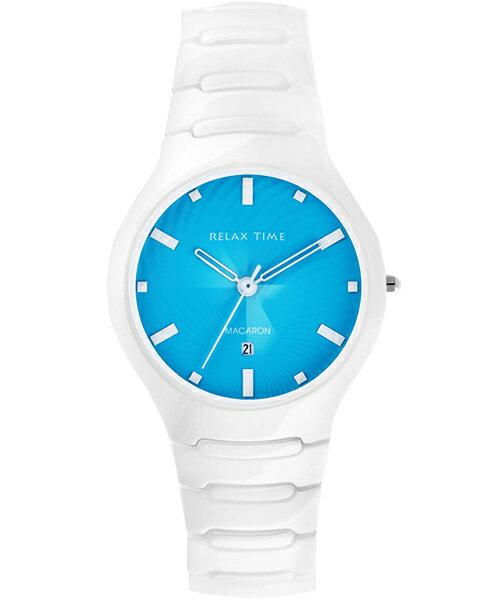 Relax Time RT-26-7馬卡龍系湖水藍陶瓷腕錶/湖水藍面36.6mm