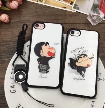 蘋果7手機殼 卡通蠟筆小新情侶保護套iphone7plus全包邊矽膠防摔