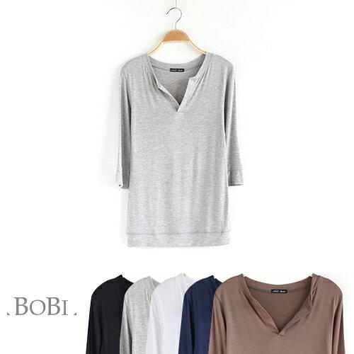 T恤 純色V領貼身顯瘦短袖T恤~MZTX0109~ BOBI 8  18