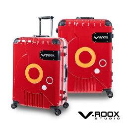 V-ROOX 28吋 ZERO潮版撞色太空艙 硬殼鋁框行李箱-紅色/銀框