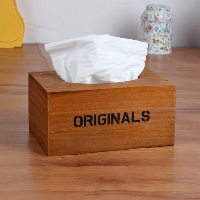 【WaBao】Zakka雜貨 復古木製面紙盒 H04669