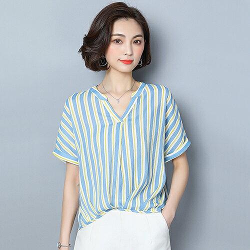 *ORead*條紋短袖雪紡襯衫(2色M~2XL)