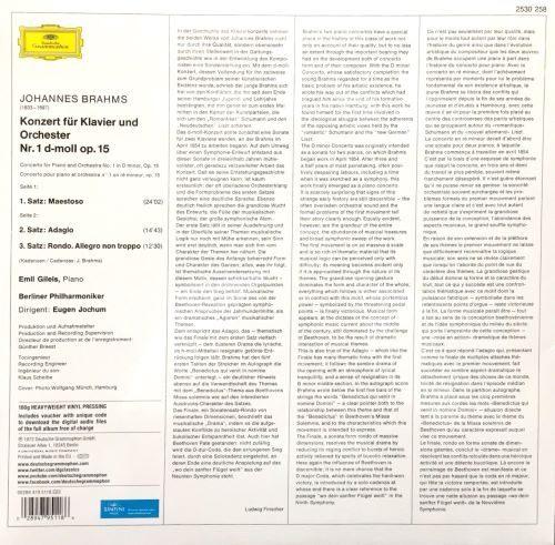 【停看聽音響唱片】【黑膠LP】JOHANNES BRAHMS:KLAVIERKONZERT NR.1 D-MOLL OP.15/EMIL GILELS, BERLINER