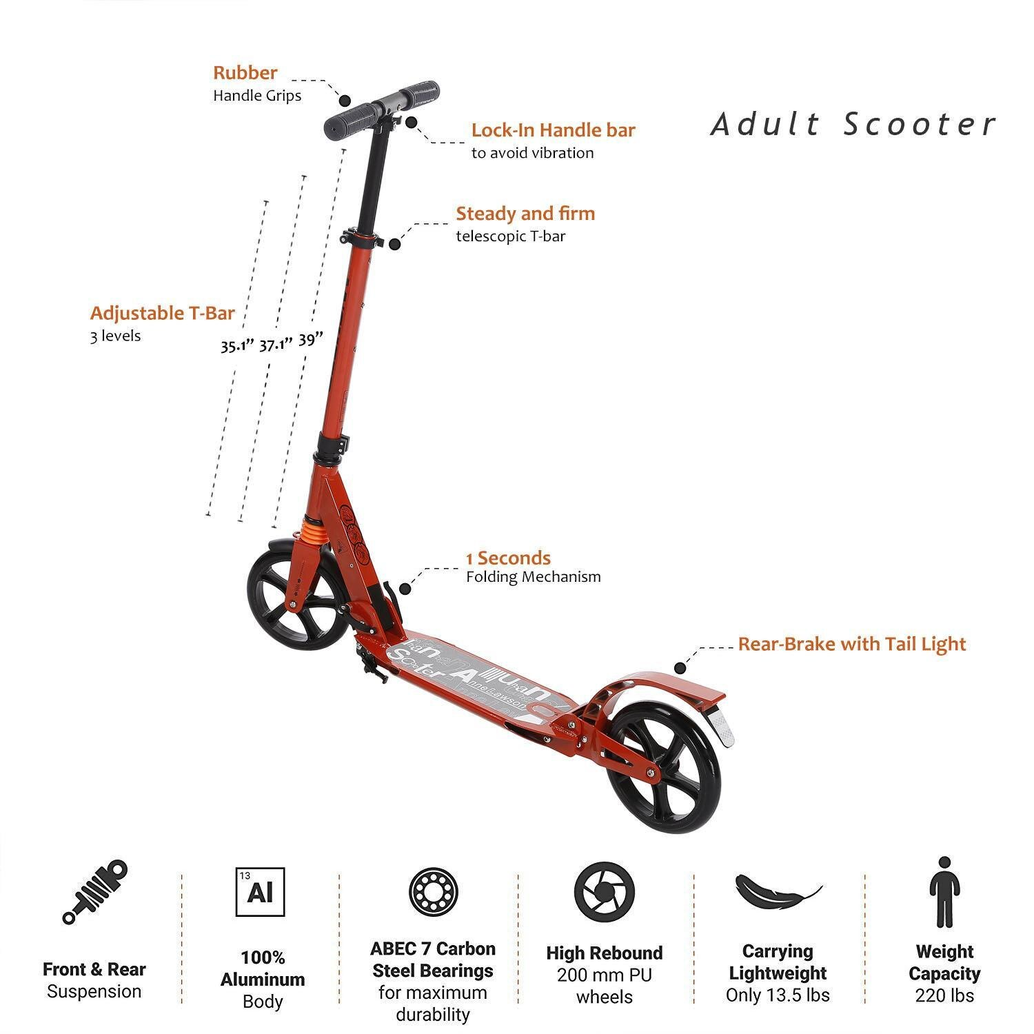 Scooter Sturdy Lightweight Height Adjustable Aluminum Alloy T-Style Foldable Design Adults 0