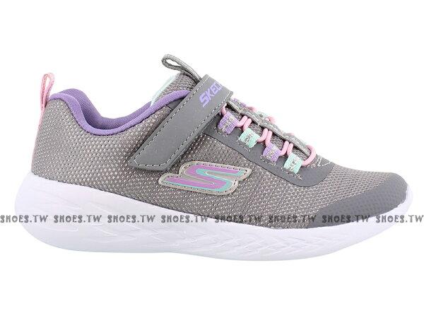 Shoestw【82008LGYMT】SKECHERS慢跑鞋中童鞋記憶鞋墊灰紫粉黏帶好穿脫