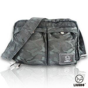 LIUKOO戰地叢林迷彩系列 ~ 雙口袋 防潑水小容量側背包 ~~神秘黑~