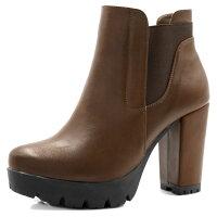 e9f46f90cecc Unique Bargains Women s Chunky High Heel Platform Zipper Chelsea Boots  Brown (Size ...
