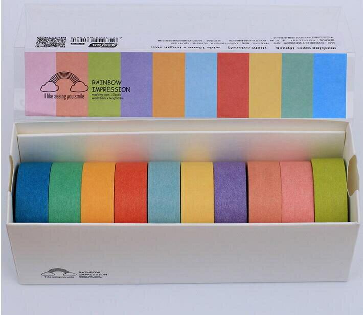 【快速出貨】至尚創美創意膠帶七彩單面強力防水標記帖裝飾貼紙膠帶10種顏色創時代3C 交換禮物 送禮